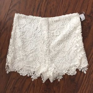 NWT LUSH lace high waist shorts. Medium